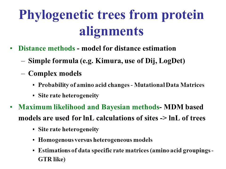 MrBayes 3.1 MrBayes will produce a population of trees and parameter values - obtained by a Markov chain (mcmcmc).