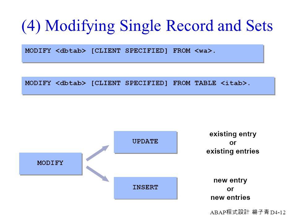 ABAP 程式設計 楊子青 D4-11 (3) Changing Record Sets Via Internal Tables