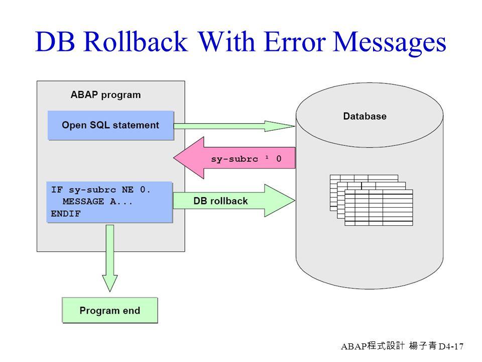 ABAP 程式設計 楊子青 D4-16 (3) Deleting Record Sets Via Internal Tables