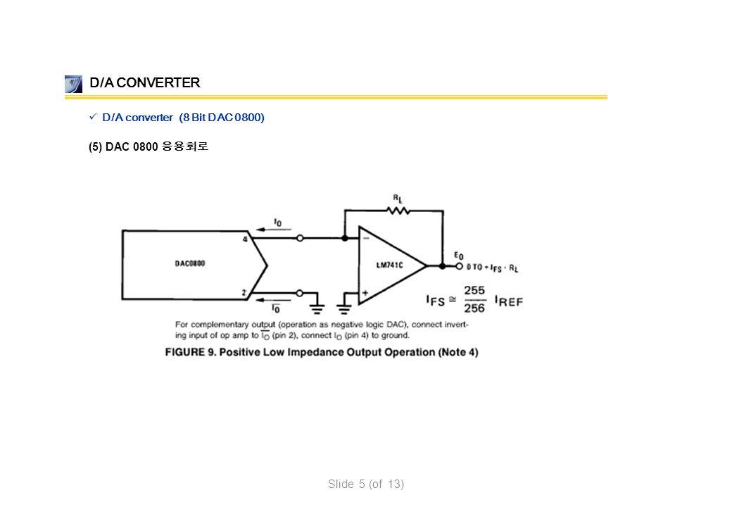 (5) DAC 0800 응용회로 D/A CONVERTER D/A converter (8 Bit DAC 0800) Slide 5 (of 13)