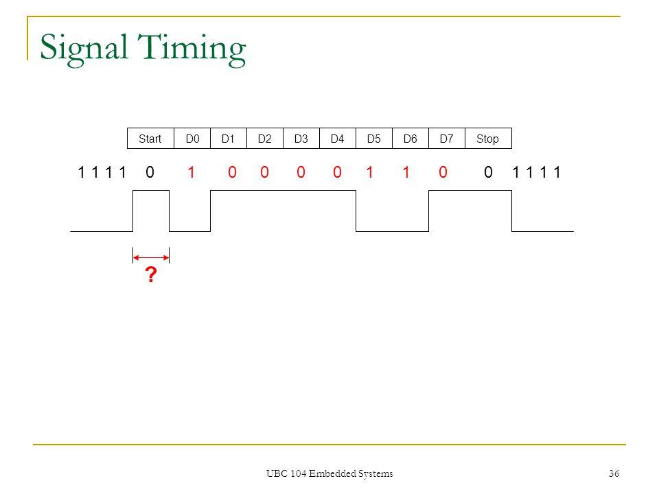 UBC 104 Embedded Systems 36 Signal Timing 1 1 1 1 0 1 0 0 0 0 1 1 0 0 1 1 1 1 StartD0D1D2D3D4D5D6D7Stop ?