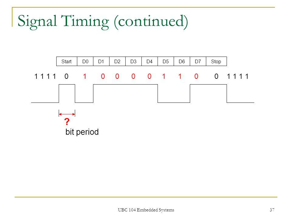UBC 104 Embedded Systems 37 Signal Timing (continued) 1 1 1 1 0 1 0 0 0 0 1 1 0 0 1 1 1 1 StartD0D1D2D3D4D5D6D7Stop ? bit period