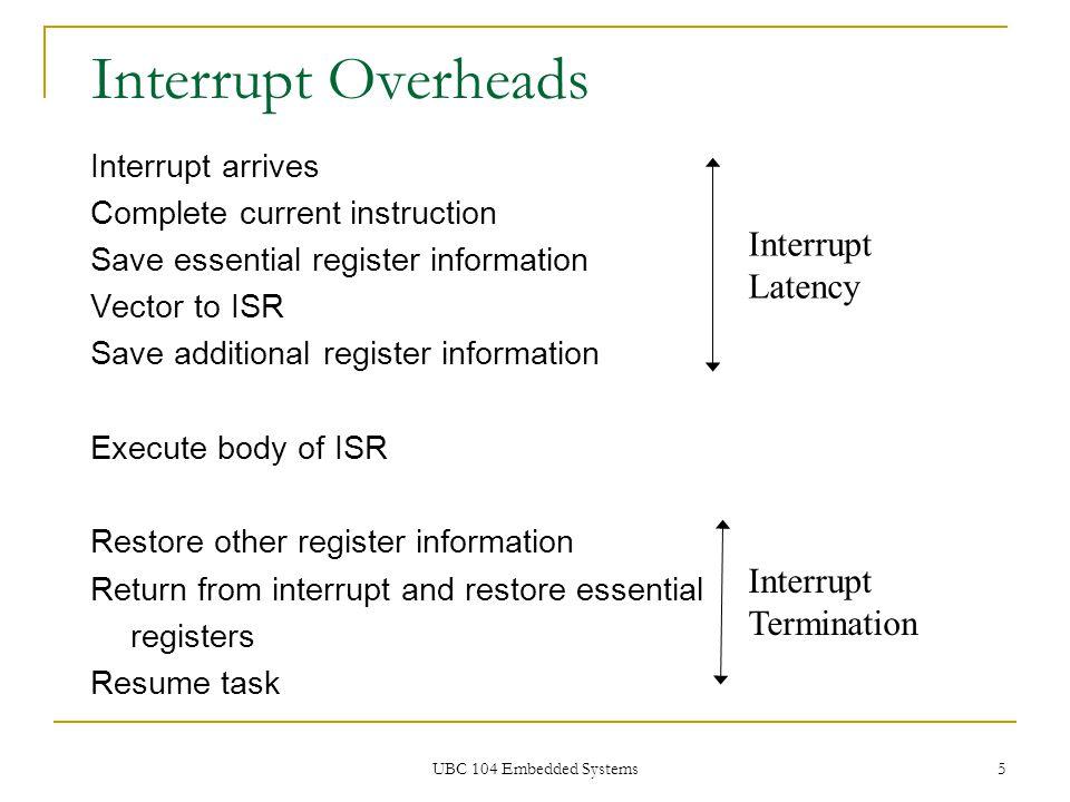 UBC 104 Embedded Systems 5 Interrupt Overheads Interrupt arrives Complete current instruction Save essential register information Vector to ISR Save a