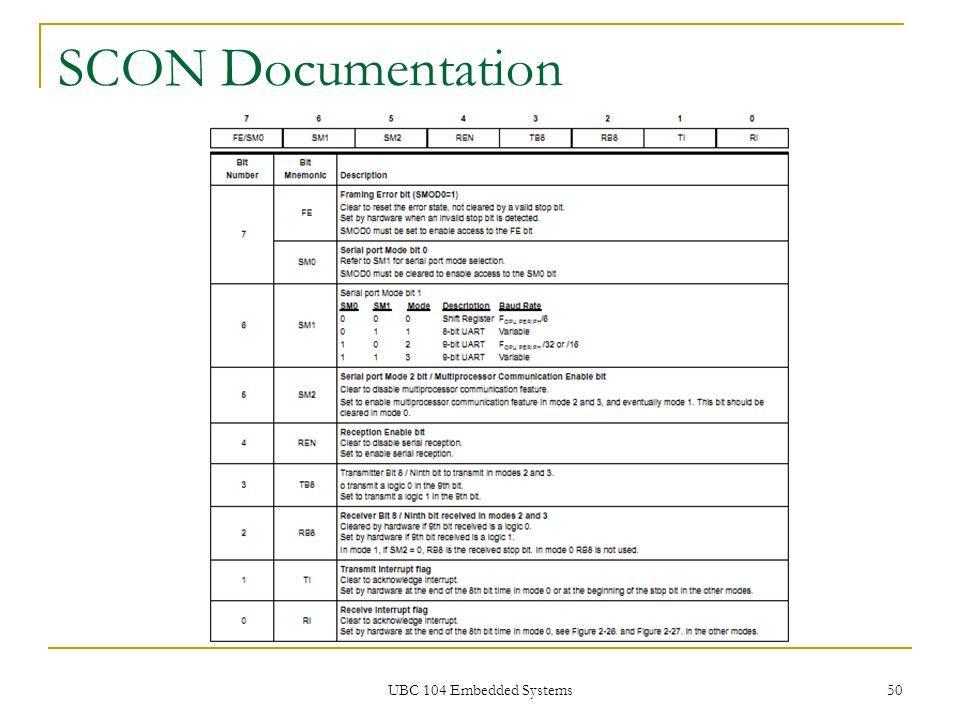 UBC 104 Embedded Systems 50 SCON Documentation