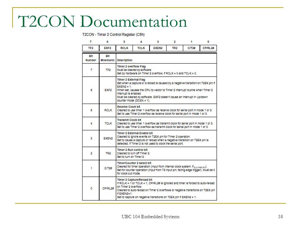 UBC 104 Embedded Systems 58 T2CON Documentation
