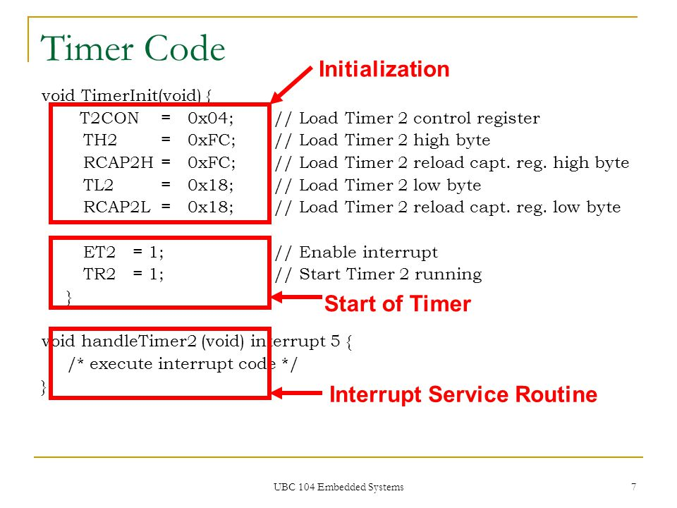UBC 104 Embedded Systems 48 Timer 1 http://www.keil.com/c51/baudrate.asp Mode 1/3 Baud Rate = 2 SMOD1 x 32 Timer Overflow Rate Mode 1/3 Baud Rate = 12 x [256 – TH1] Oscillator Frequency 2 SMOD1 x 32 Baud Rate [256 – TH1] = Oscillator Frequency 2 SMOD1 x 3212 x Baud Rate TH1 = 256 – Oscillator Frequency 2 SMOD1 x 3212 x