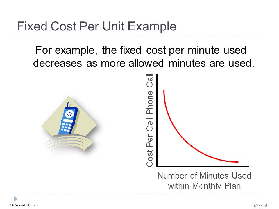 McGraw-Hill/Irwin Slide 16 Number of Minutes Used within Monthly Plan Cost Per Cell Phone Call Fixed Cost Per Unit Example For example, the fixed cost