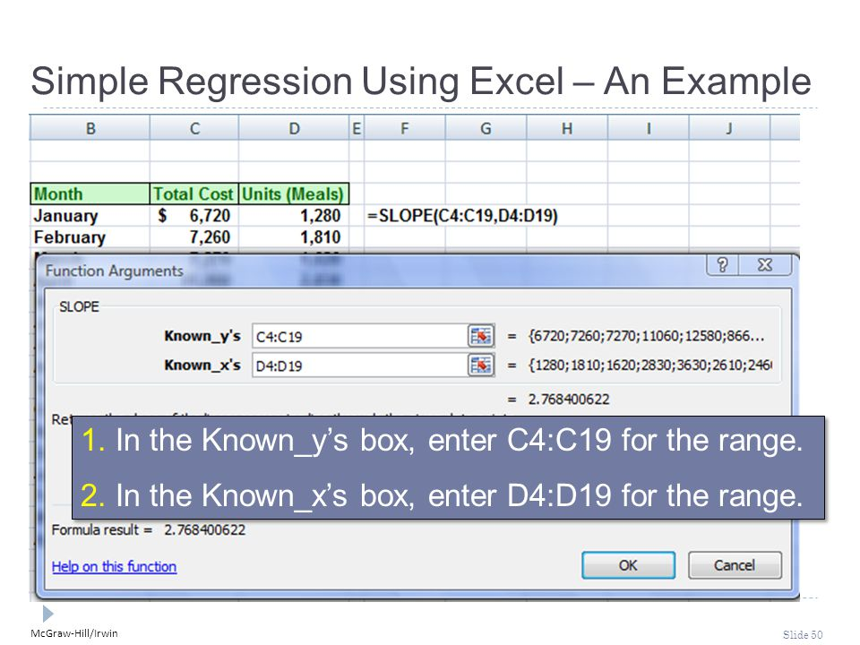 McGraw-Hill/Irwin Slide 50 1. In the Known_y's box, enter C4:C19 for the range. 2. In the Known_x's box, enter D4:D19 for the range. 1. In the Known_y