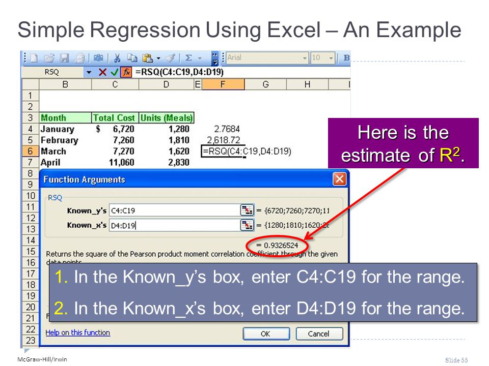 McGraw-Hill/Irwin Slide 55 1. In the Known_y's box, enter C4:C19 for the range. 2. In the Known_x's box, enter D4:D19 for the range. 1. In the Known_y