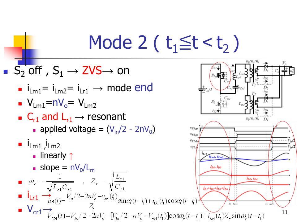 11 Mode 2 ( t 1 ≦ t < t 2 ) S 2 off, S 1 → ZVS → on i Lm1 = i Lm2 = i Lr1 → mode end V Lm1 =nV o = V Lm2 C r1 and L r1 → resonant applied voltage = (V in /2 - 2nV 0 ) i Lm1, i Lm2 linearly ↑ slope = nV 0 /L m i Lr1 → V cr1 →