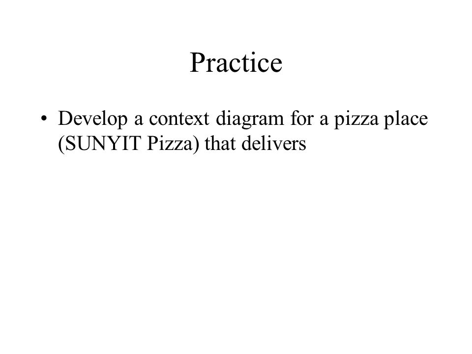 Practice Develop a context diagram for a pizza place (SUNYIT Pizza) that delivers