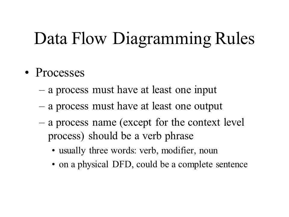 Data Flow Diagramming Rules Processes –a process must have at least one input –a process must have at least one output –a process name (except for the context level process) should be a verb phrase usually three words: verb, modifier, noun on a physical DFD, could be a complete sentence