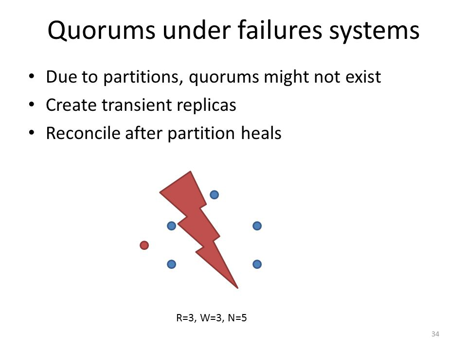 Quorums under failures systems Due to partitions, quorums might not exist Create transient replicas Reconcile after partition heals R=3, W=3, N=5 34