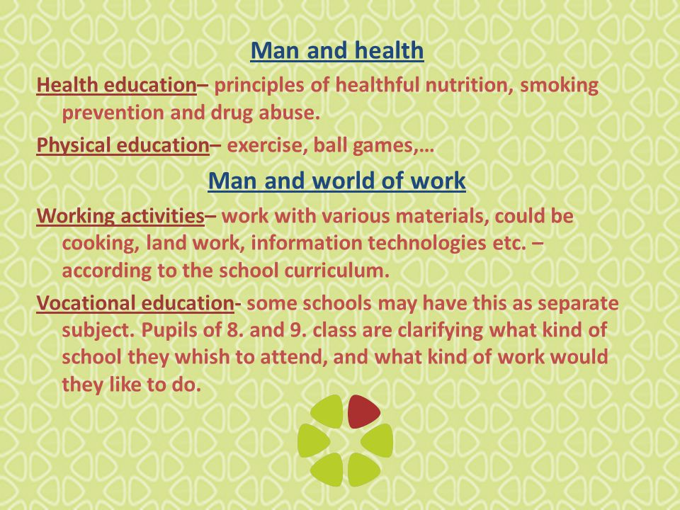 Man and health Health education– principles of healthful nutrition, smoking prevention and drug abuse.