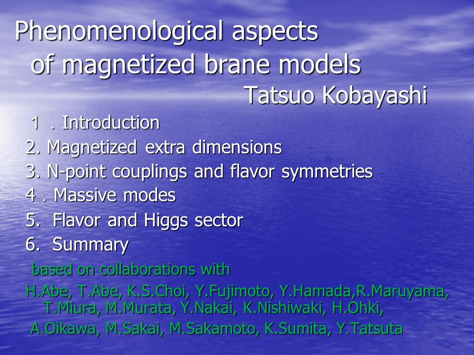 1 Introduction Extra dimensional field theories, in particular in particular string-derived extra dimensional field theories, string-derived extra dimensional field theories, play important roles in particle physics play important roles in particle physics as well as cosmology.