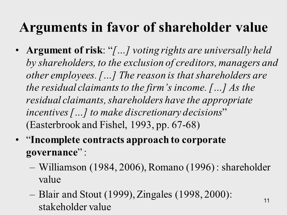 "11 Arguments in favor of shareholder value Argument of risk: ""[…] voting rights are universally held by shareholders, to the exclusion of creditors, m"