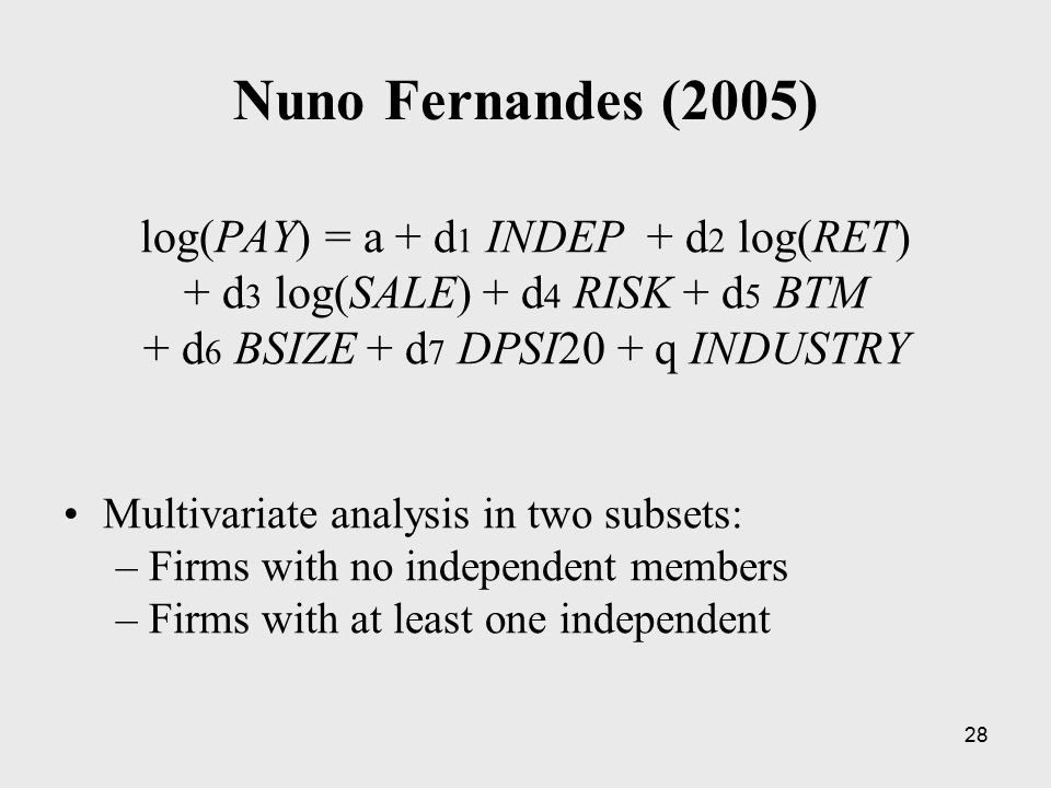 28 Nuno Fernandes (2005) log(PAY) = a + d 1 INDEP + d 2 log(RET) + d 3 log(SALE) + d 4 RISK + d 5 BTM + d 6 BSIZE + d 7 DPSI20 + q INDUSTRY Multivaria