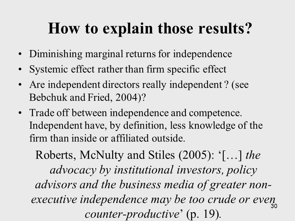 30 How to explain those results? Diminishing marginal returns for independence Systemic effect rather than firm specific effect Are independent direct