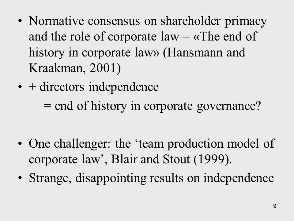 10 Whose interests should the corporation serve.