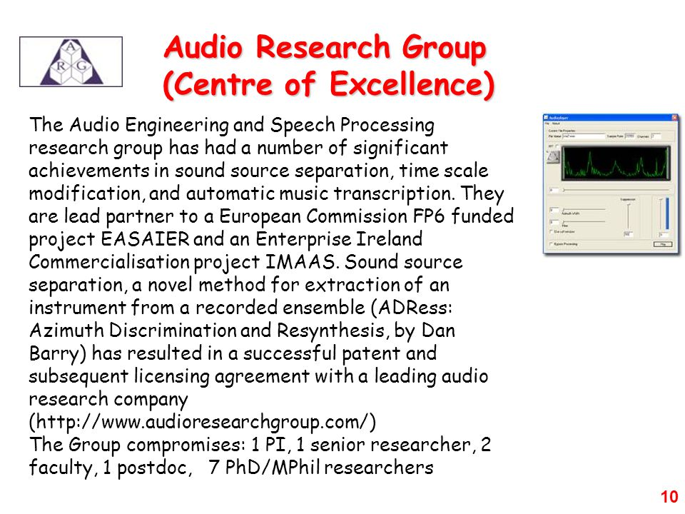 10 The Audio Engineering and Speech Processing research group has had a number of significant achievements in sound source separation, time scale modification, and automatic music transcription.