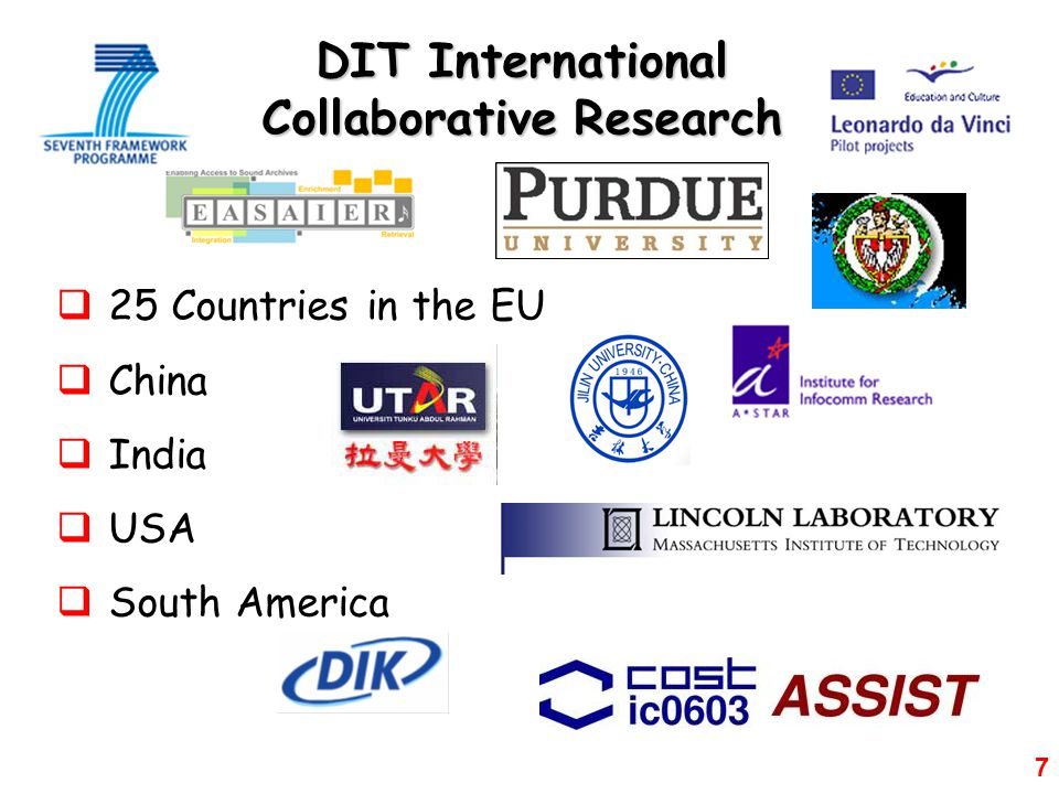 7 DIT International Collaborative Research  25 Countries in the EU  China  India  USA  South America