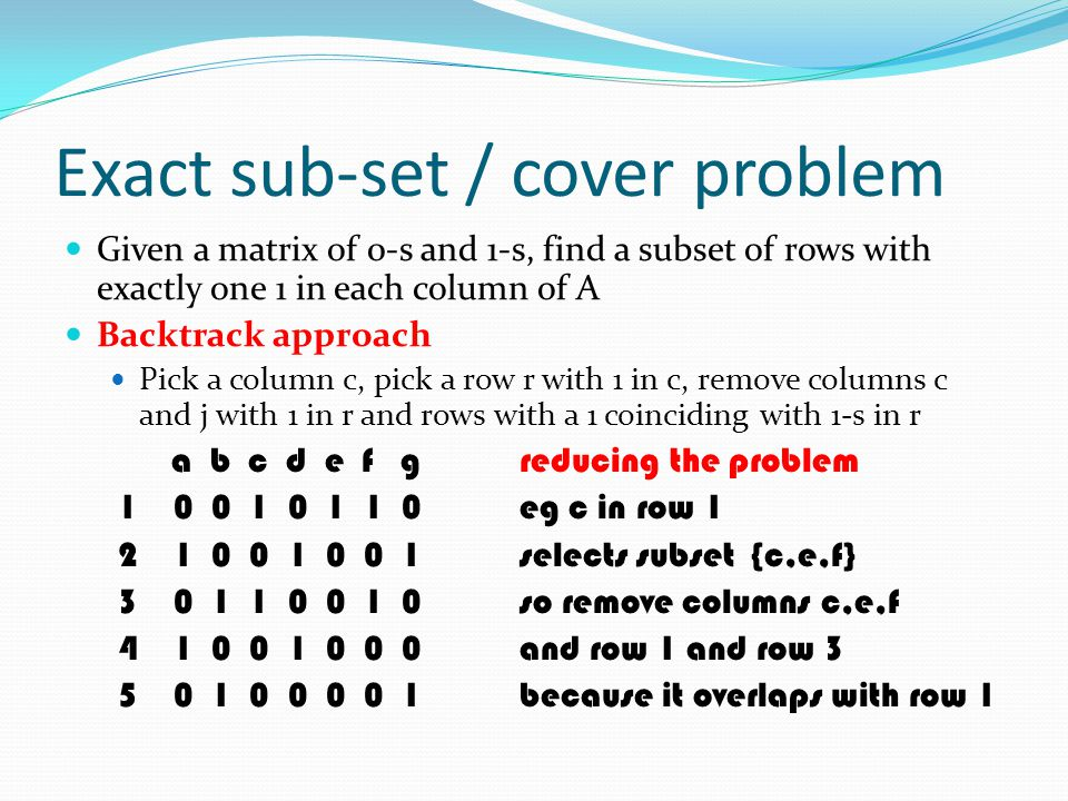 Exact sub-set / cover problem Given a matrix of 0-s and 1-s, find a subset of rows with exactly one 1 in each column of A Backtrack approach Pick a co