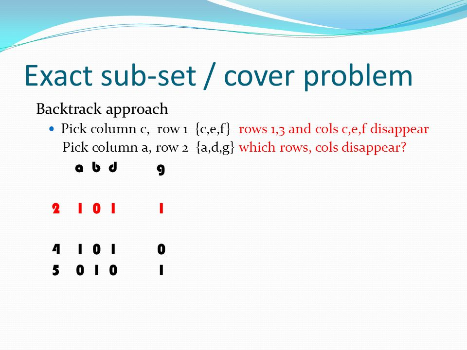 Exact sub-set / cover problem Backtrack approach Pick column c, row 1 {c,e,f} rows 1,3 and cols c,e,f disappear Pick column a, row 2 {a,d,g} which row