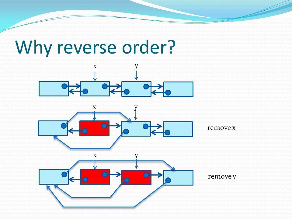 Why reverse order? x y xy remove x xy remove y