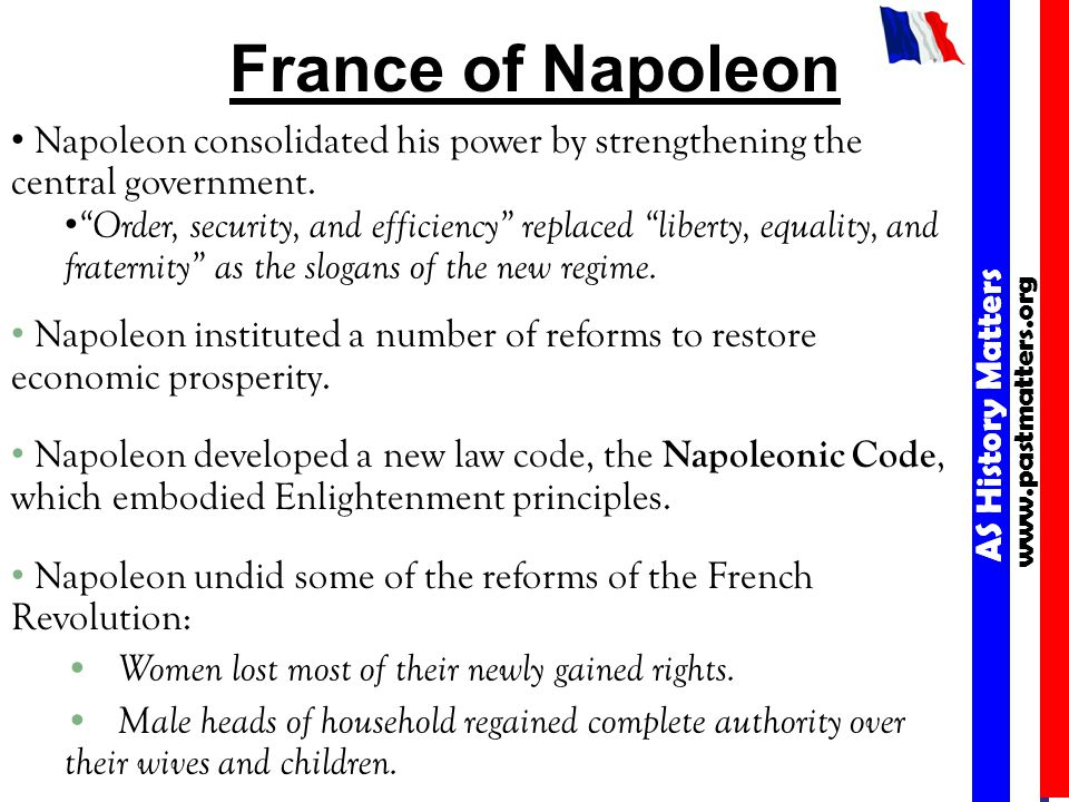 AS History Matters www.pastmatters.org AS History Matters www.pastmatters.org France of Napoleon Napoleon consolidated his power by strengthening the central government.