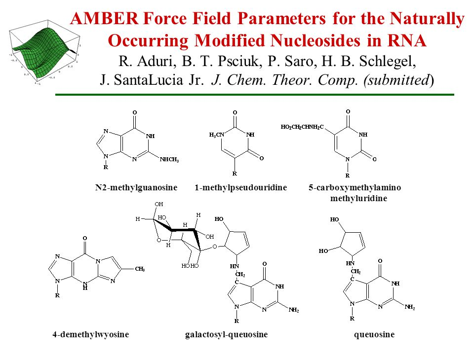 AMBER Force Field Parameters for the Naturally Occurring Modified Nucleosides in RNA R.