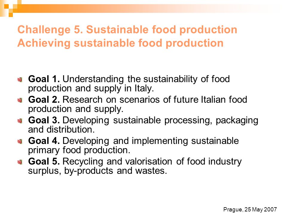 Challenge 5. Sustainable food production Achieving sustainable food production Goal 1. Understanding the sustainability of food production and supply