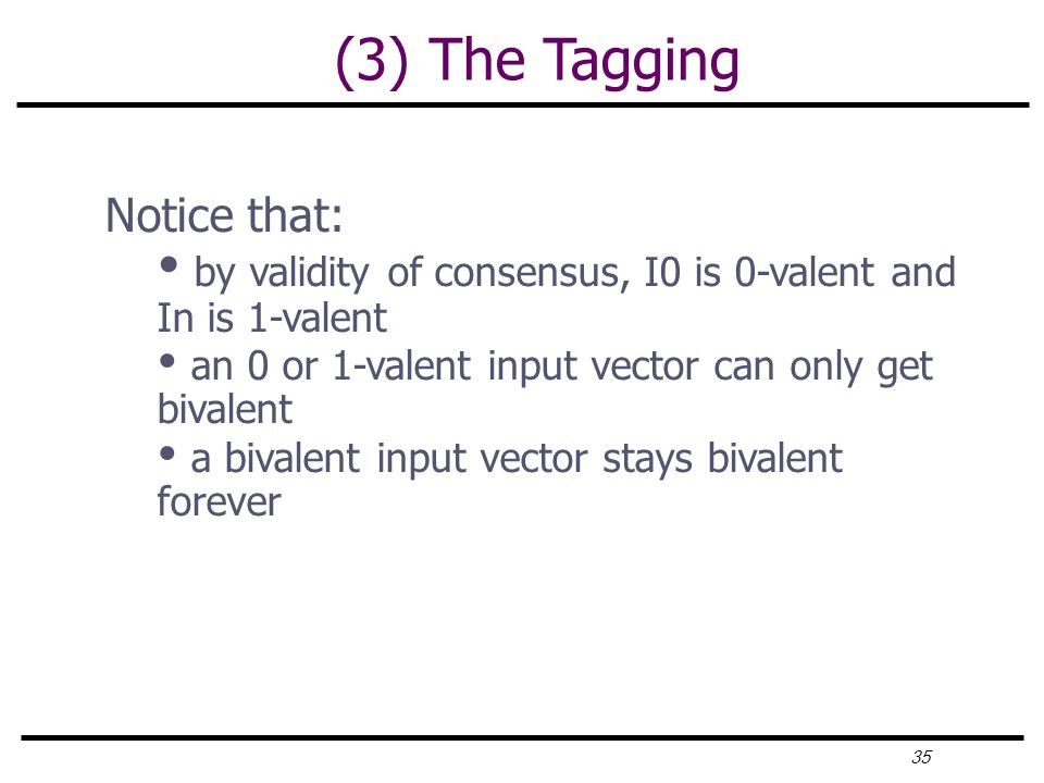 35 (3) The Tagging Notice that: by validity of consensus, I0 is 0-valent and In is 1-valent an 0 or 1-valent input vector can only get bivalent a bivalent input vector stays bivalent forever