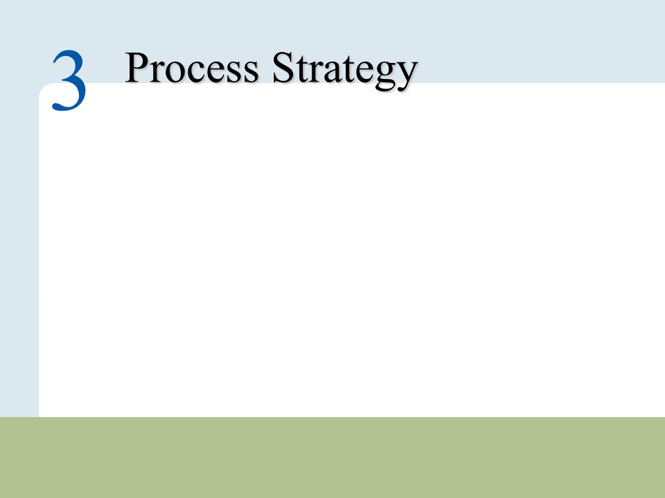 3 – 1 Copyright © 2010 Pearson Education, Inc. Publishing as Prentice Hall. Process Strategy 3