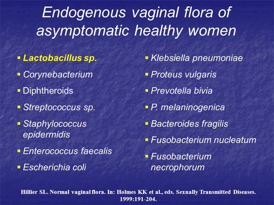 Endogenous vaginal flora of asymptomatic healthy women  Lactobacillus sp.  Corynebacterium  Diphtheroids  Streptococcus sp.  Staphylococcus epide