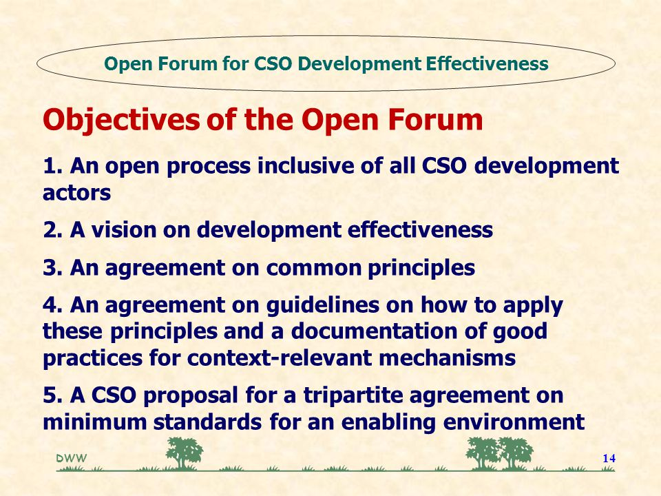 DWW 14 Objectives of the Open Forum 1. An open process inclusive of all CSO development actors 2. A vision on development effectiveness 3. An agreemen