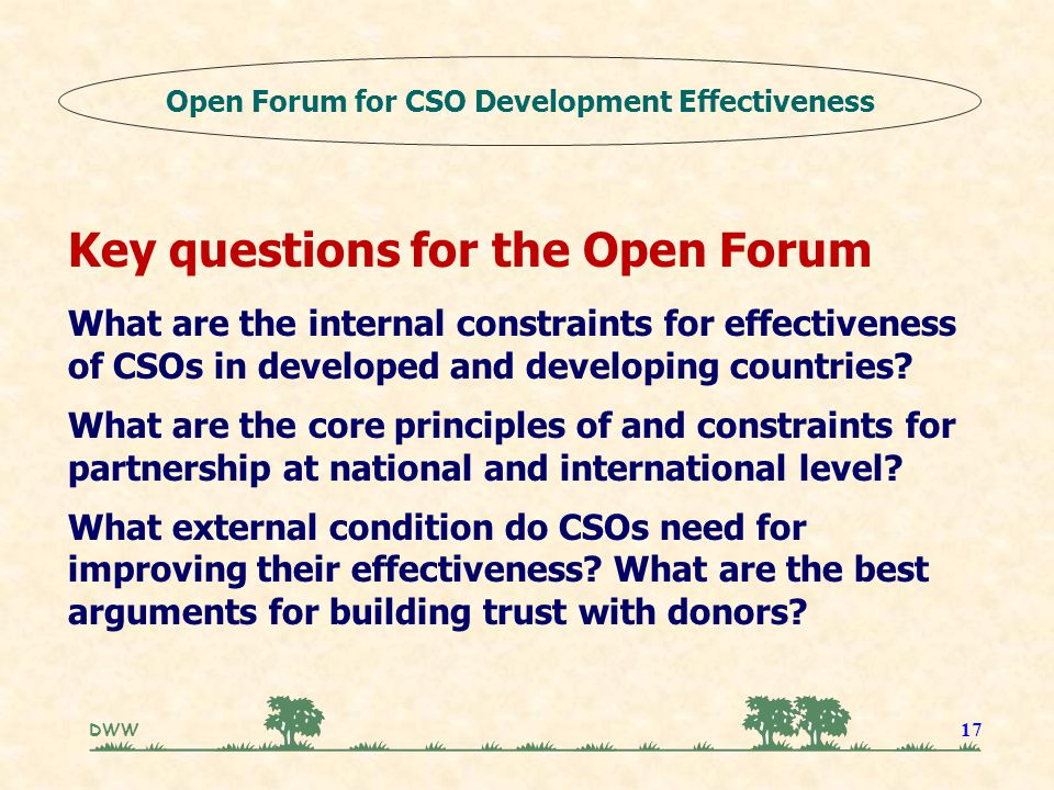 DWW 17 Key questions for the Open Forum What are the internal constraints for effectiveness of CSOs in developed and developing countries.