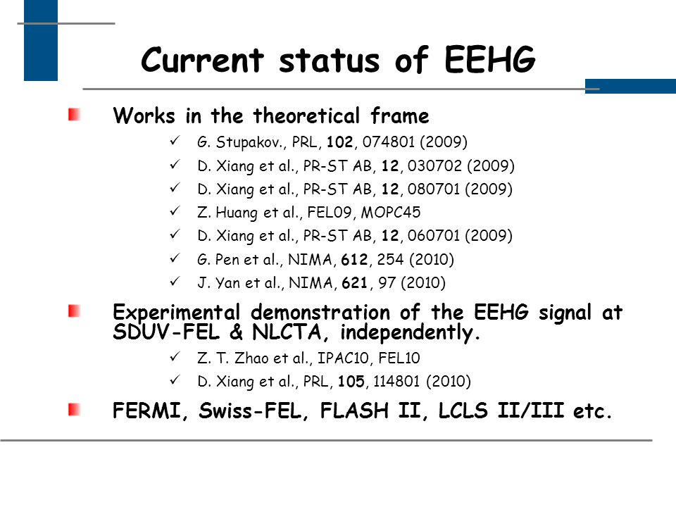 Current status of EEHG Works in the theoretical frame G.