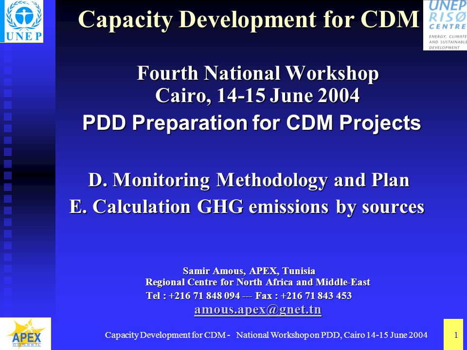 Capacity Development for CDM - National Workshop on PDD, Cairo 14-15 June 20041 Capacity Development for CDM Fourth National Workshop Cairo, 14-15 June 2004 PDD Preparation for CDM Projects PDD Preparation for CDM Projects D.