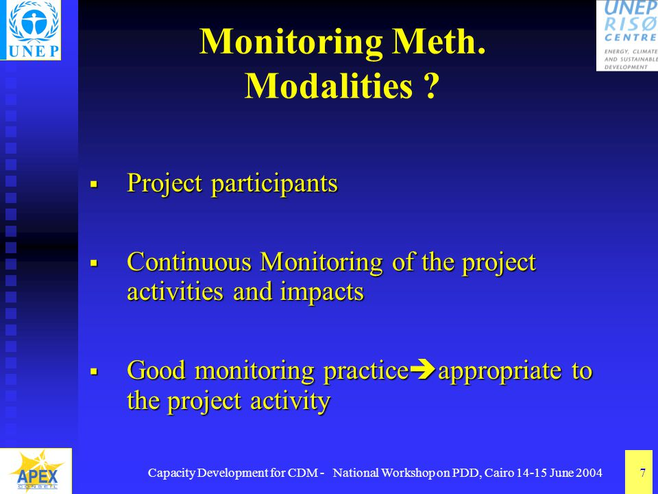 Capacity Development for CDM - National Workshop on PDD, Cairo 14-15 June 20047 Monitoring Meth.
