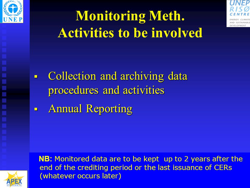 Capacity Development for CDM - National Workshop on PDD, Cairo 14-15 June 20048 Monitoring Meth.
