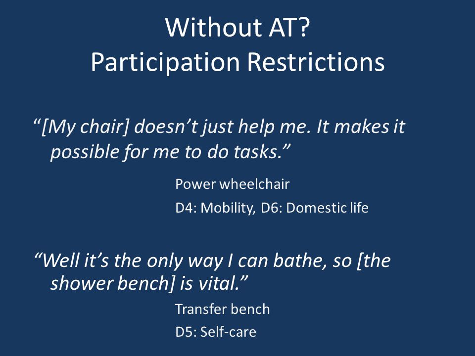 Without AT. Participation Restrictions [My chair] doesn't just help me.