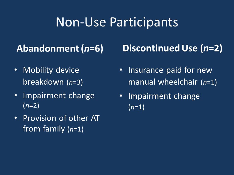 Non-Use Participants Abandonment (n=6) Mobility device breakdown (n=3) Impairment change (n=2) Provision of other AT from family (n=1) Discontinued Use (n=2) Insurance paid for new manual wheelchair (n=1) Impairment change (n=1)