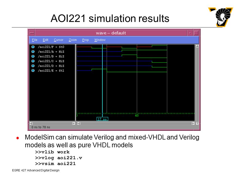 EGRE 427 Advanced Digital Design AOI221 simulation results ModelSim can simulate Verilog and mixed-VHDL and Verilog models as well as pure VHDL models
