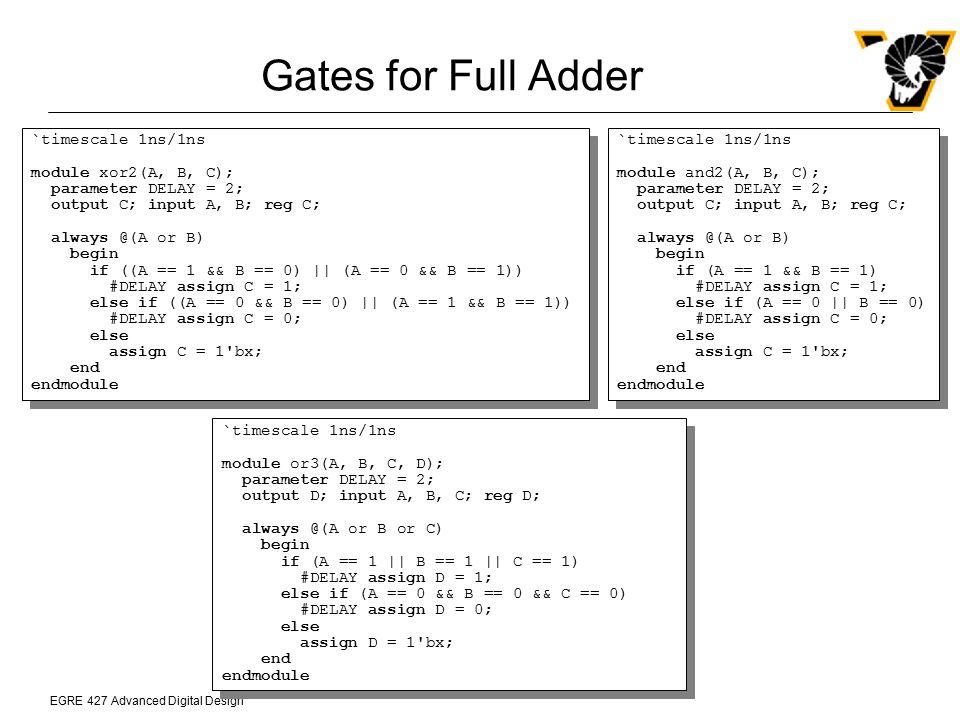 EGRE 427 Advanced Digital Design Gates for Full Adder `timescale 1ns/1ns module xor2(A, B, C); parameter DELAY = 2; output C; input A, B; reg C; alway