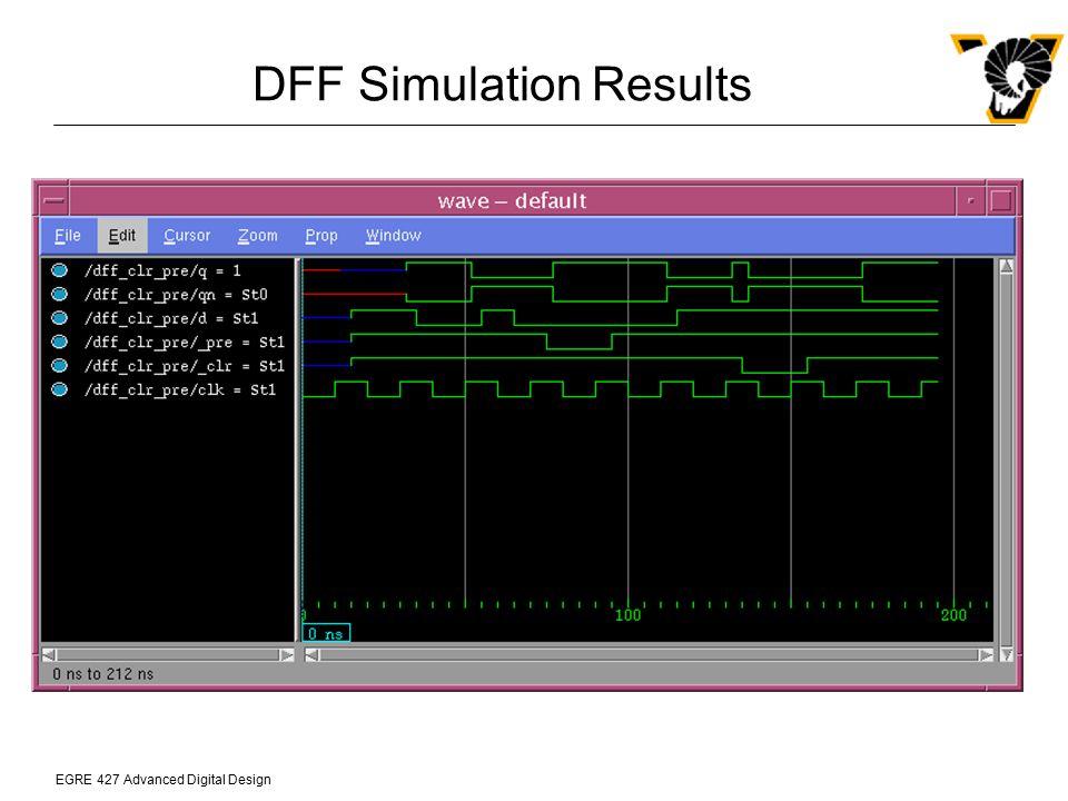 EGRE 427 Advanced Digital Design DFF Simulation Results