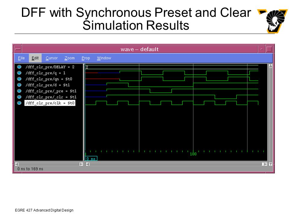 EGRE 427 Advanced Digital Design DFF with Synchronous Preset and Clear Simulation Results