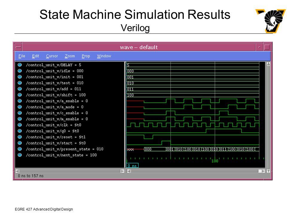 EGRE 427 Advanced Digital Design State Machine Simulation Results Verilog