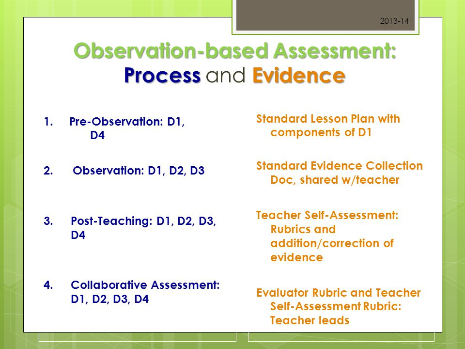 Observation-based Assessment: ProcessEvidence Observation-based Assessment: Process and Evidence 1.