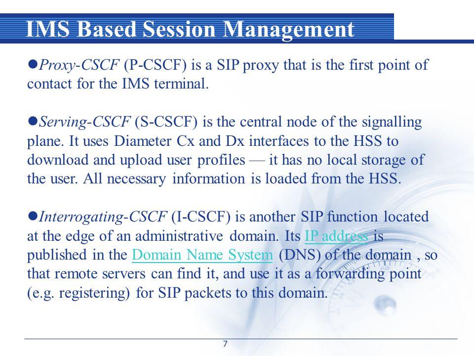 IMS Based Session Management 8