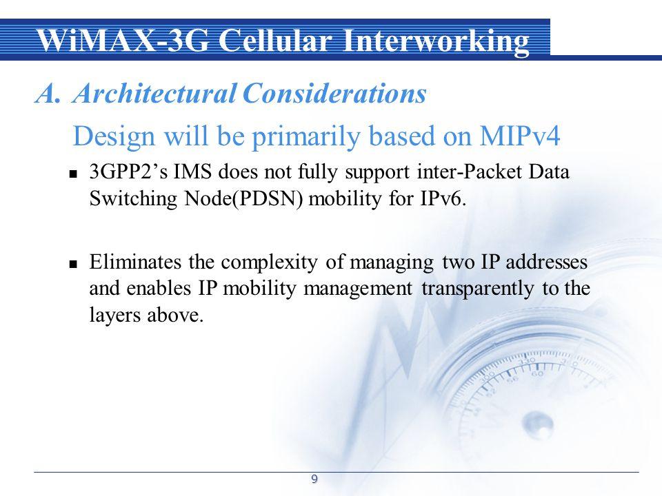 WiMAX-3G Cellular Interworking B.Interworking Architecture 10